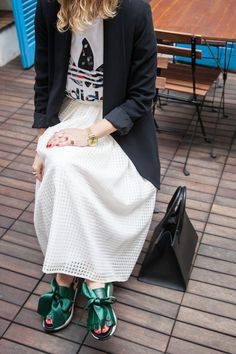 Love this outfit, Rue Bisquit skirt and jacket... <3 #Ruebisquit#rue8isquit#streetshot#streetpic#streetstyle#skirt#vichyskirt#jacket#adidas#adidasoriginals#prism#trifoiltee www.officineconcept.com