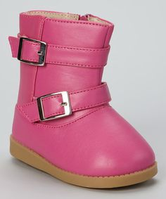 Take a look at this Hot Pink Buckle Squeaker Boot by Sneak A' Roos on #zulily today!