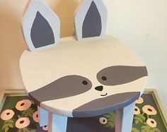 Woodland RACCOON | Hand-painted wooden animal stool | Children's furniture | Kid or toddler stool | Forest theme nursery playroom