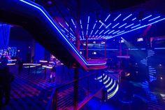 ENVY Nightlife at the Route 66 Casino - Design & Manufacture Lounge Design, Nightclub Design, Club Lighting, Strip Lighting, Neon Aesthetic, Route 66, My New Room, Night Life, Interior Design