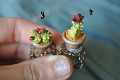 Adjustable ring cactus in a pot Purple flower by Sifakacreations