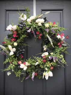 Spring Wreath Tulip Wreath Purple Pink White Door Wreath Fern Wreaths Gift for Her White Tulips Spring Gift Ideas Mother's Day Gift Thanksgiving Wreaths, Fall Wreaths, Door Wreaths, Grapevine Wreath, Fall Door Decorations, Flower Decorations, White Tulips, Pink White, Pink Purple
