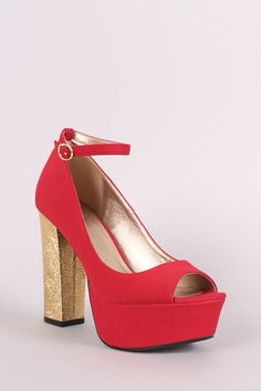 This stunning pump features a peep toe silhouette, adjustable ankle strap with buckle fastening, covered tribute platform, and metallic textured chunky heel. Ankle Strap Heels, Ankle Straps, All About Shoes, Pump Shoes, Women's Shoes, Flats, Sandals, Platform Pumps, Shoe Brands