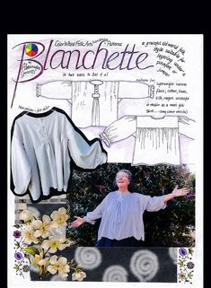 Blanchette Blouse pattern by Alexandra Genetti — Alexandra Genetti Flat Sketches, Old World Style, Vintage Ideas, Diy Clothes, Smocking, Long Sleeve Shirts, Patterns, Sewing, Blouse