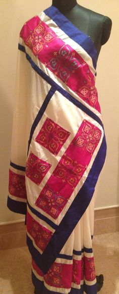 Pure Silk Sari with patch work Kantha stitch hand embroidery. For orders and inquiries, please mail us at naari@aninditacreations.com.  Like us at www.facebook.com/naari.aninditacreations