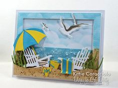 Come see my sparkling and relaxing beach scene card with die cuts, embossing paste and glitter. Card Making Tutorials, Card Making Techniques, Making Ideas, Craft Stick Crafts, Paper Crafts, Impression Obsession Cards, Beach Cards, Die Cut Cards, Card Tags