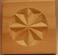 Raised 8 Point Star carved wood rosette corner block--pine