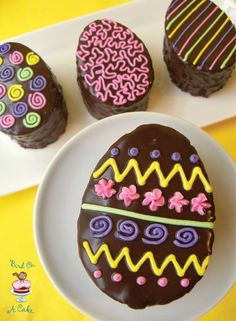 And all you have to do is take a cookie cutter to a cake to make mini cakes. Plus, these are chocolate. All chocolate. And they look just like chocolate Easter eggs that line t… Mini Eggs Cake, Easter Egg Cake, Easter Candy, Easter Cookies, Easter Treats, Mini Cakes, Cupcake Cakes, Cupcakes, Desserts Ostern