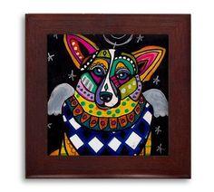 Corgi Angel Memorial Gift - dog Mexican Folk Art Ceramic Framed Tile by Heather Galler - Ready To Hang Tile Frame Gift