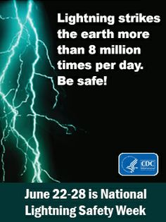 June 22-28 is National Lightning Safety Week. #Lightning strikes may be dangerous, but you can protect yourself from risk even if you are caught outdoors when lightning is close by. Click to learn more.