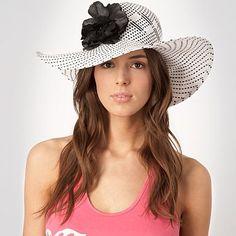 White checked corsage hat - Beach hats - Hats & fascinators - Women -