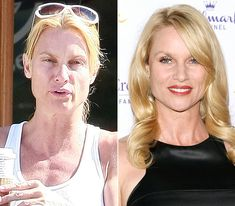 30 Fairly Shocking Pictures of Celebrities Without Makeup No PhotoShop vs PhotoShop Nicolette Sheridan Celebrity Makeup, Celebrity Look, Celebrity Gallery, Celebrity Pictures, Cellulite, Make Up Black, Free Makeover, Celebs Without Makeup, Photo Star