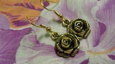 Rose Dangle Pierced Earrings by tracisallymaxx on Etsy