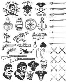 Pirates Design Elements. Corsair Skulls, Weapon