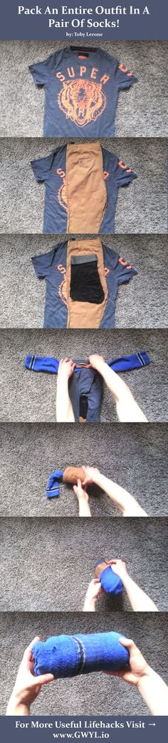 We thought you might want to include this lifehack the next time you head out into the great outdoors. | Read more --> http://gwyl.io/pack-an-entire-outfit-in-a-pair-of-socks/