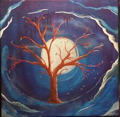 Autumn Night - Rotten Apple Arts  (Albert Mish ) Apple Art, Circular Pattern, Tree Wedding, Paintings, Autumn, Night, Prints, Artwork, Flowers