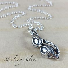 Swim Googles Charm Necklace Sterling Silver by MadisonCraftStudio