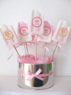 de madera centro de mesa para baby shower en color rosa baby shower