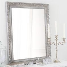 Spiegel aus Paulownienholz, silbern, H90cm, VALENTINE