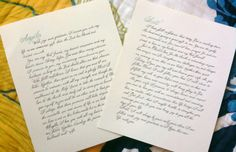 Calligraphy wedding vows for the home.Yes please