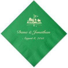 Festive Green Personalized Napkins - 25 pieces