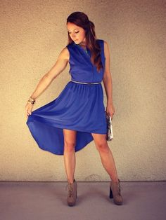 blue high low collar dress with open back