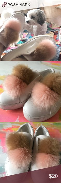 Sam Edelman Pompom slip ons Gently used Sam Edelman slip-on tennis style shoes. White with big fur pink and beige pompoms. I think I wore these twice. Good condition. Sam Edelman Shoes Sneakers
