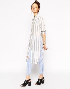 Image 1 of ASOS Long Sleeve Blue and White Stripe Maxi Shirt