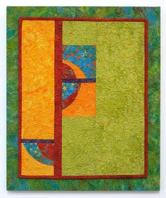 Bright Quilted Contemporary Wall Hanging - Mango Salsa /// Cindy Grisdela Art Quilts