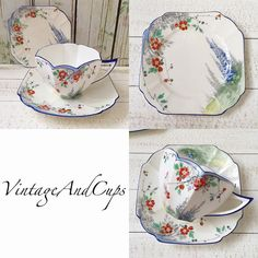 Shelley queen anne floral pattern duo + 1 unusual small plate.