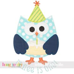 Hang to Dry Applique - Birthday Owl with Candles, $5.99 (http://www.hangtodryapplique.com/birthday-owl-with-candles/)