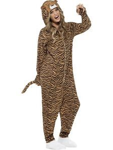 0517cf07b38d Details about Tiger Costume Adults Wild Animal Jumpsuit Fancy Dress Outfit  Mens Ladies