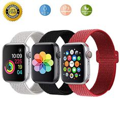 Buy Loxdn Compatible for Apple Watch Band Replacement Wristbands Nylon Sport Loop Compatible iWatch Apple Watch Series Pack, mm) New Apple Watch, Apple Watch Series, Apple Watch Bands, Apple Watch Models, Series 4, Black White Red, Smartwatch, Sport, Smart Watch