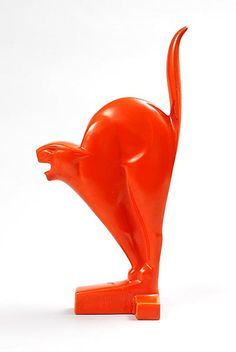 Found on www.botterweg.com - Orange glazed earthenware sculpture of Cat design Chris van der Hoef 1928 executed by Plateelbakkerij Zuid-Holland Gouda / the Netherlands