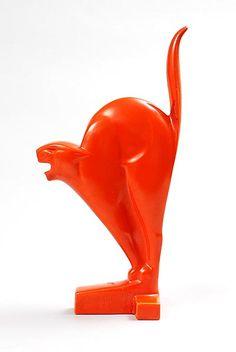 Found on www.botterweg.com - Orange glazed earthenware sculpture of Cat design Chris van der Hoef 1928 executed by Plateelbakkerij Zuid-Holland Gouda / the Netherlands