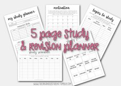 hey everyone! I've put together a study/revision printable pack for those of you taking exams and test. This 5 page printable covers everything you need to plan and prepare for your upcoming...