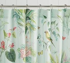 Pottery Barn Lia Palm Shower Curtain - March 02 2019 at Tropical Shower Curtains, Tropical Showers, Vinyl Shower Curtains, Tropical Bathroom, Botanical Bathroom, Tropical Decor, Pottery Barn Shower Curtain, Bathroom Drawers, Bathroom Storage