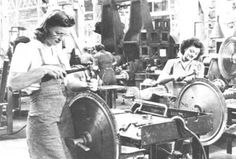 """Women working at Joshua Hendy Iron Works in 1945. """"Rosie the Riveter"""" is a cultural icon of the United States, representing about six million women who worked in the manufacturing plants that produced munitions and materiel during World War II. These women took the place of men who were absent fighting in the Pacific and European theaters."""