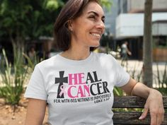 Heal Cancer Tshirt – Girls Reminded & Inspired White Heals, Mindset Quotes Positive, Luke 1 37, Large Black, Black And White, Cancer, Crew Neck, Healing, The Unit