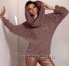 """Пуловер с рукавами """"летучая мышь"""" и снуд-труба спицами"""
