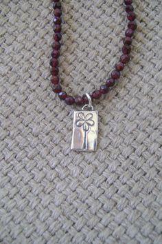 Garnet Flower Charm  Necklace by smisko on Etsy, $36.00