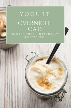 Creamy yogurt overnight oats with only four ingredients. This simple make-ahead breakfast will forever change your busy mornings. #healthy #breakfast #overnightoats