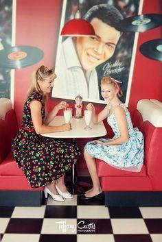 pinup sharing milkshake - Google Search Peplum Dress, Strapless Dress, Pin Up Girls, Rockabilly, Pinup, American, Milkshake, Soda, Vintage