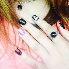 HIM inspired nails with a heartagram  #purple #black