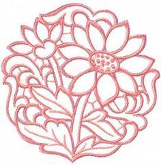 Chamomile cutwork free embroidery design. Machine embroidery design. www.embroideres.com