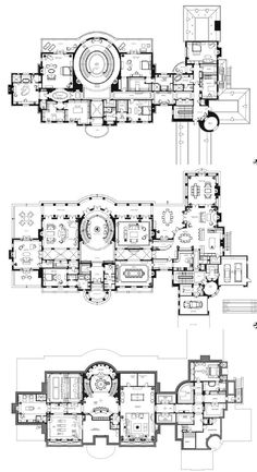 "27,000 square foot ""Le Grand Reve"" mansion. Floor plan for all 3 levels. Address: 68 Locust Rd, Winnetka IL. By Richard Landry Design. (Yes, I've already pinned this house, but this has all 3 levels together in one place instead of separately) - Believe"