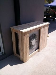 A nice sturdy cover for your outdoor Ductless unit, nice & open allows plenty of air flow Ac Unit Cover, Ac Cover, Hide Ac Units, Air Conditioner Cover Outdoor, Hvac Air Conditioning, Hvac Maintenance, Outdoor Balcony, Love Your Home, Heat Pump