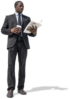 Office Businessman with coffee and newspaper. Cut out by Mrcutout.com #cutout #visualization #images #business #office #african #american #coffee #newspaper #newyork #architect #architektur
