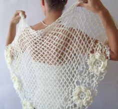 SALE  Crochet Shawl Wedding Wrap Triangle Daisy Shawl