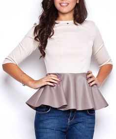 Take a look at this Katrus: Beige Leather-Look Peplum Top by Katrus on #zulily today!